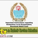 JKSSB List of candidates (with all relevant details) for downloading the Admit Cards