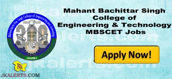 MBSCET Walk-in Interview for the post of Professor, Associate Professor and Assistant Professor