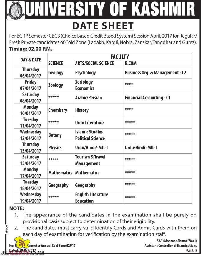 Kashmir University Date Sheet BG 1st Semester CBCB for Regular/ Fresh Private candidates