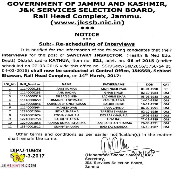 or the post of SANITARY INSPECTOR, (Health & Med Edu. Deptt) District cadre KATHUA