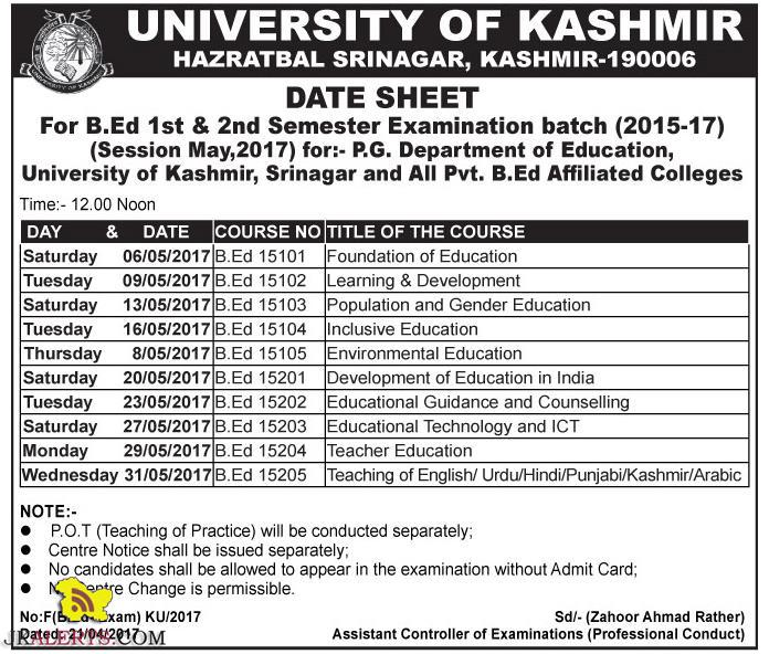 University of Kashmir B.Ed 1st & 2nd Semester Date Sheet 2015-17 Session May, 2017