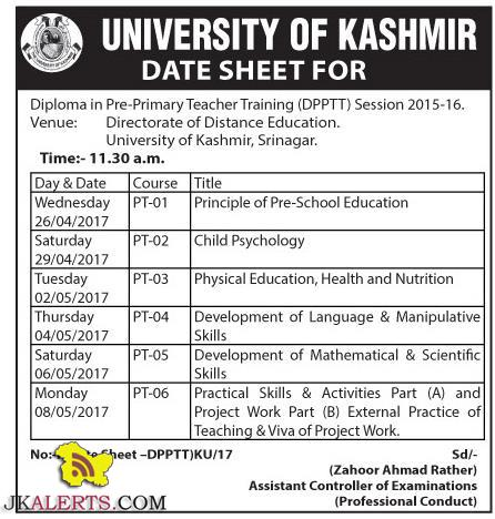 University of Kashmir Date Sheet Diploma in Pre Primary Teacher Training (DPPTT)