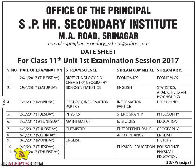 S .P. HR. Secondary Institute Class 11th Unit 1st Examination Session 2017