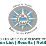 JKPSC Revenue Service (Executive) Departmental Examination, 2016 Date Sheet