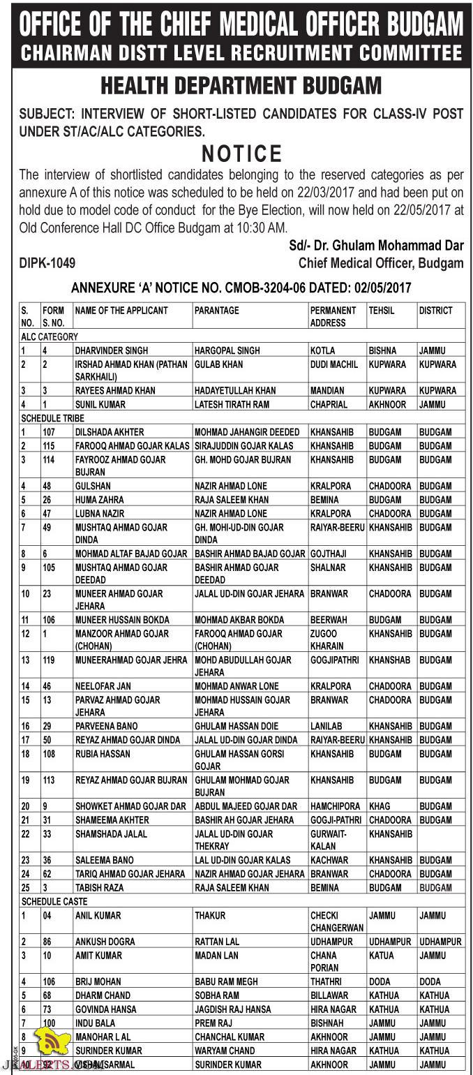 Health Department Interview of Class IV post under Category