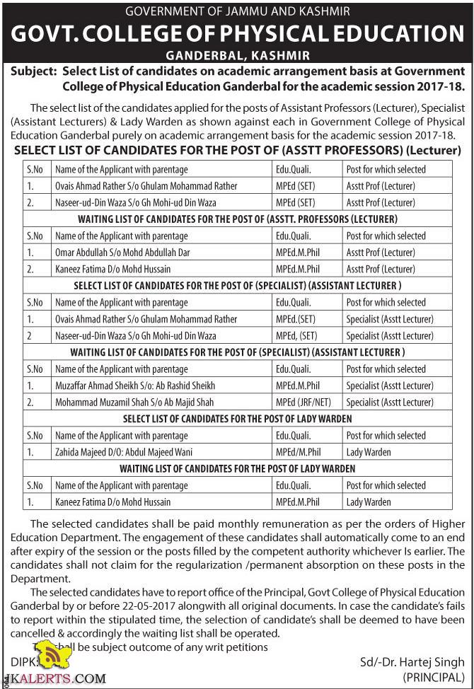 f Assistant Professors (Lecturer), Specialist (Assistant Lecturers) & Lady Warden
