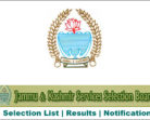 JKSSB Selection List of the candidates for the post of Accounts Assistant,Receptionist, Data Entry operators, Sub-Inspector, Inspector