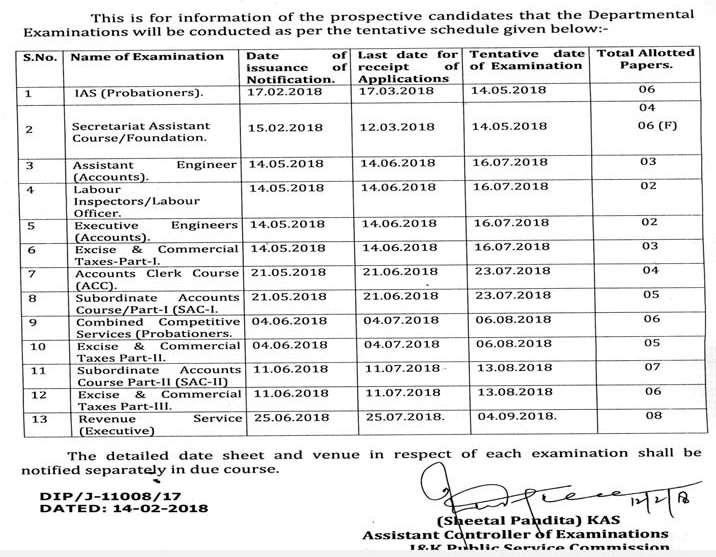 Calendar Jammu : Jkpsc calendar for departmental examinations