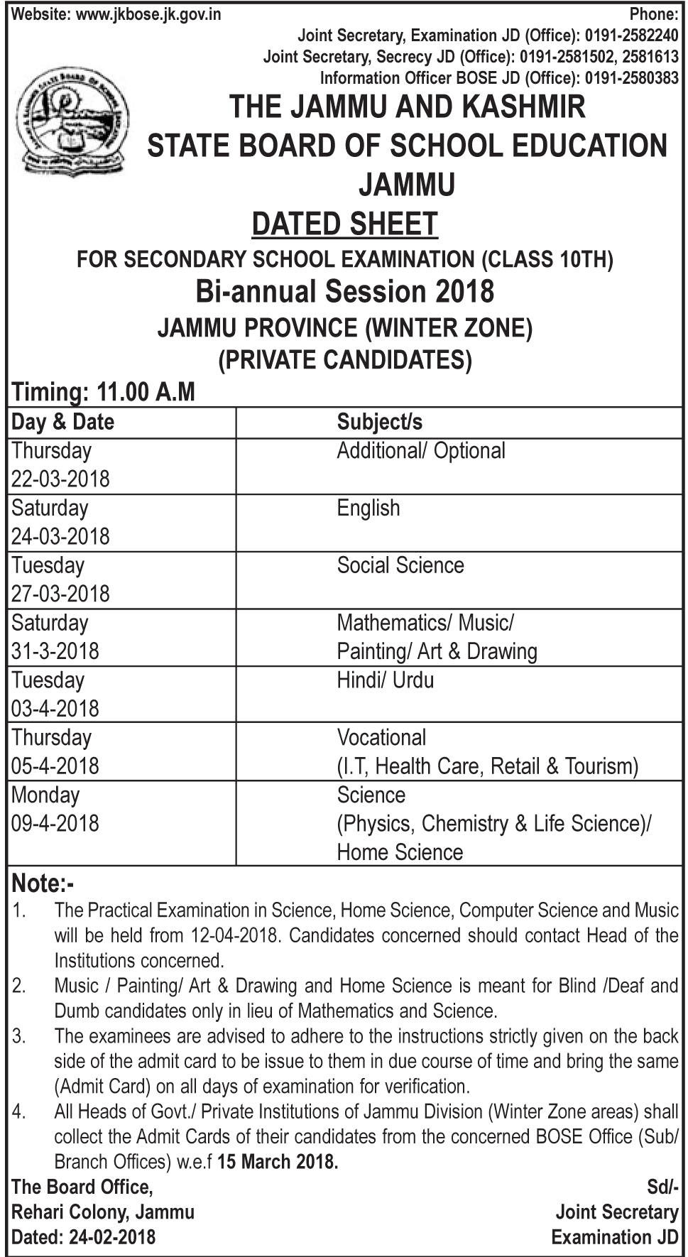 jkbose date sheet class 10th jammu province winter zone bi. Black Bedroom Furniture Sets. Home Design Ideas