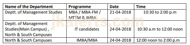 kashmir University interview Schedule